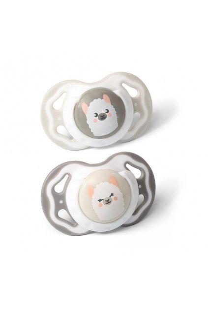 Symetrický cumlík Baby Ono 3-6m 2ks sivý a béžový