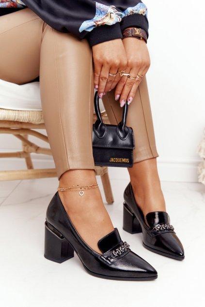 Dámske lodičky farba čierna kód obuvi A14 BLACK