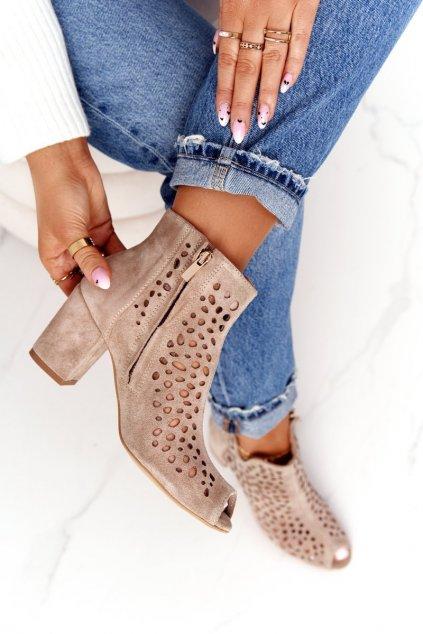 Členkové topánky na podpätku farba hnedá kód obuvi 1184 BEŻ.WELUR