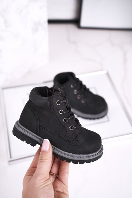 Detské členkové topánky farba čierna NJSK H62 BLK