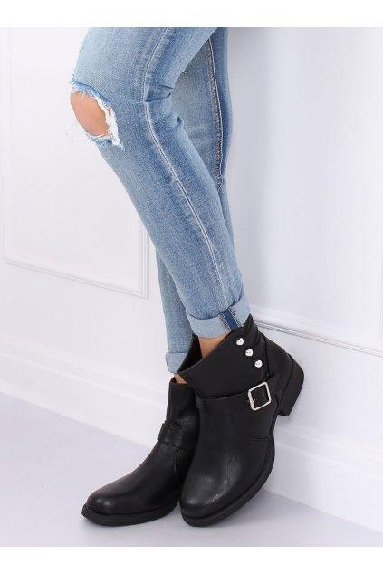 Dámske členkové topánky čierne na plochom podpätku ZW08