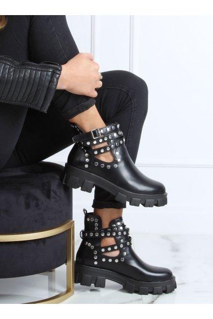 Dámske členkové topánky čierne na plochom podpätku NJSK NC1127