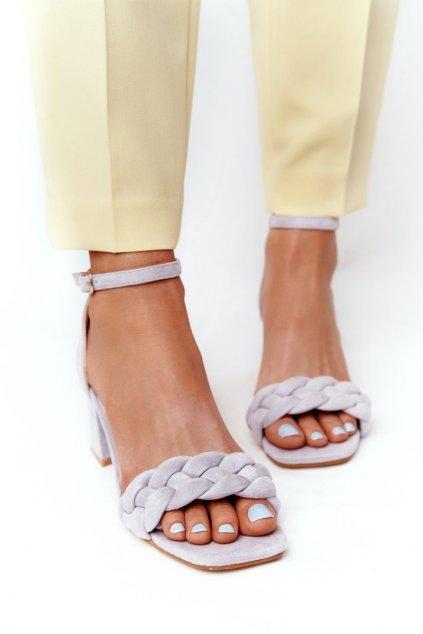 Dámske sandále na podpätku farba sivá kód obuvi GG-102P GREY
