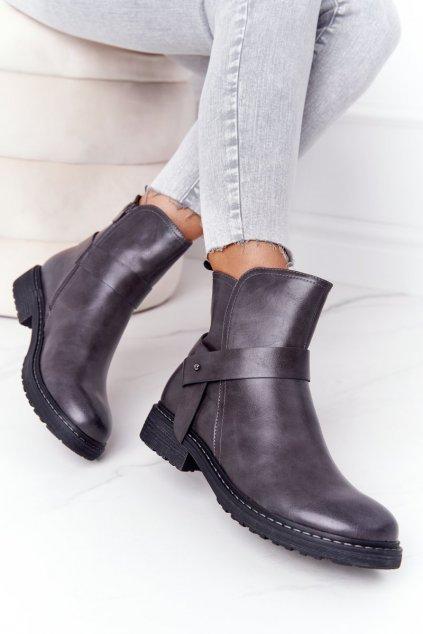 Členkové topánky na podpätku farba sivá kód obuvi 20Y8083-3 GREY