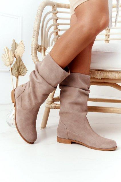 Členkové topánky na podpätku farba hnedá kód obuvi 05057-04/00-6 BEŻ