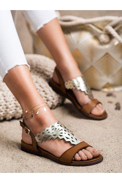Hnedé sandále s plochou podrážkou Sergio leone kod SK035BR