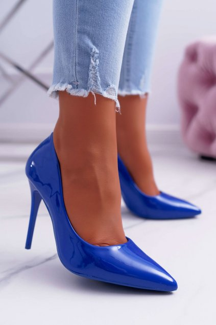 Dámske lodičky na ihlovom podpätku modré Yanna NJSK LE03 BLUE