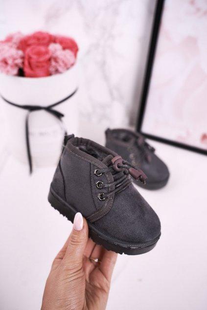 Detské členkové topánky farba sivá NJSK 20223-1C/2C/3C GREY