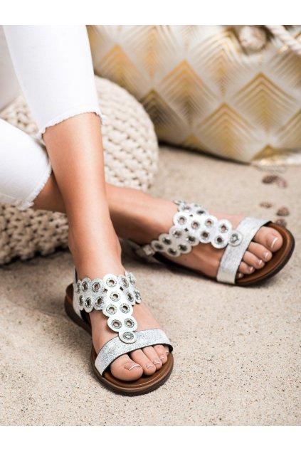 Sivé sandále s plochou podrážkou Sergio leone kod SK012W/S