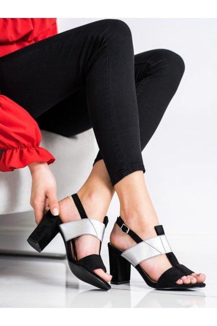 Čierne sandále na podpätku Vinceza kod YQE20-17088B