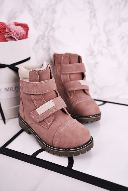 Detské členkové topánky farba ružová NJSK HD156 PINK
