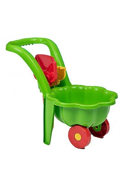 Detský záhradný fúrik s lopatkou a hrabličkami BAYO Sedmokráska zelený
