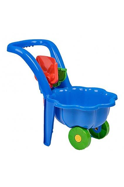 Detský záhradný fúrik s lopatkou a hrabličkami BAYO Sedmokráska modrý