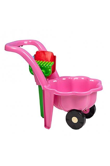 Detský záhradný fúrik s lopatkou a hrabličkami BAYO Sedmokráska ružový