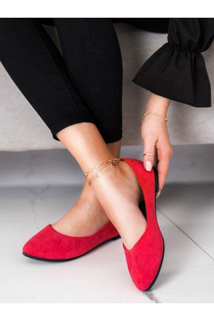 Červené dámske balerínky Vinceza kod BOB21-18036R