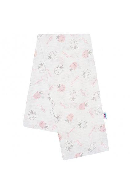 Bavlnená plienka s potlačou New Baby biela meow rúžová