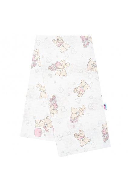 Bavlnená plienka s potlačou New Baby biela medvedík s rúžovým darčekom