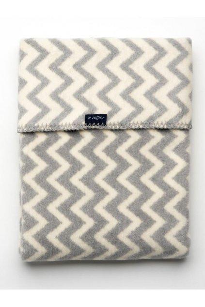 Detská bavlnená deka so vzorom Cik-Cak Womar 75x100 sivo-biela