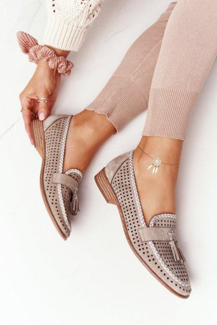 Dámske mokasíny farba hnedá kód obuvi MK735 BEIGE