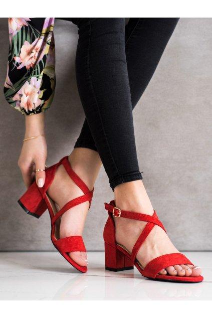 Červené sandále na podpätku Sergio leone kod SK837R