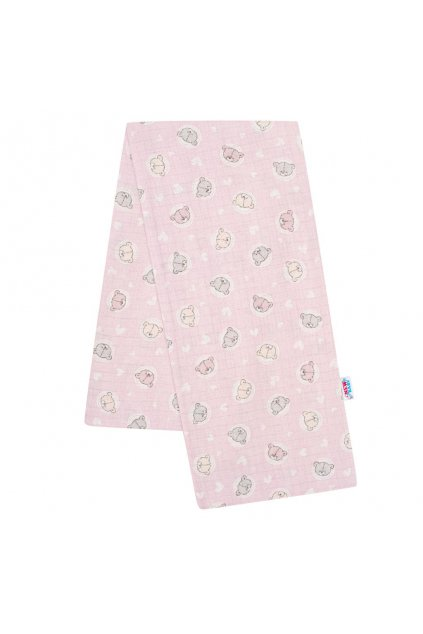 Bavlnená plienka s potlačou New Baby ružová malé medvedíky
