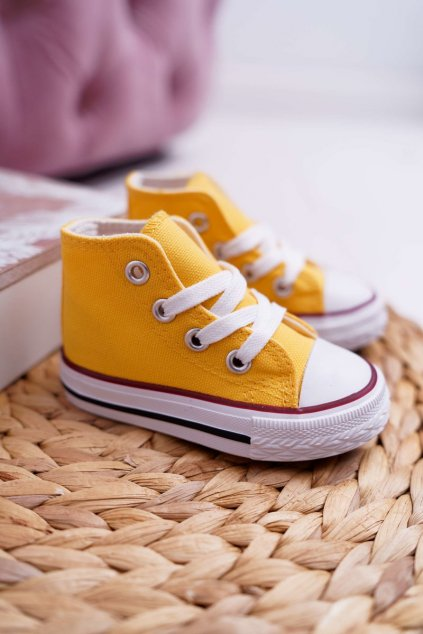 Detské tenisky farba žltá NJSK 80090 YELLOW