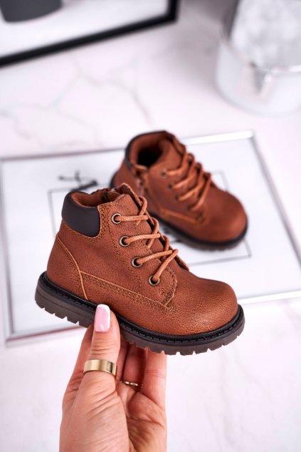 Detské členkové topánky farba hnedá NJSK H62 BROWN
