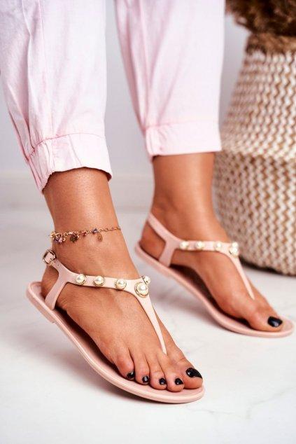 Dámske ploché sandále farba hnedá NJSK 668 BEIGE