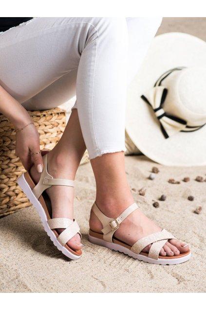 Hnedé sandále s plochou podrážkou Weide kod Y71-41BE