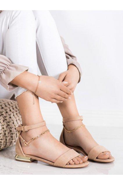 Hnedé sandále s plochou podrážkou Vinceza kod YQE21-17119BE