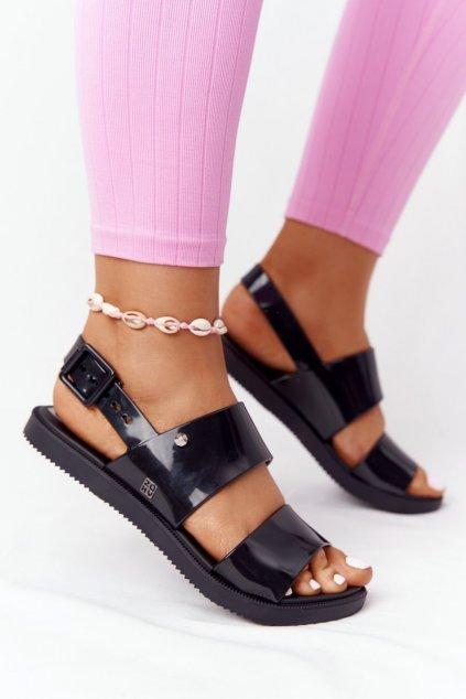 Dámske sandále s plochou podrážkou farba čierna kód obuvi HH285163 BLK
