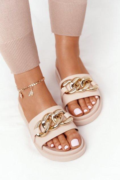 Dámske šľapky farba hnedá kód obuvi 55-106 NUDE