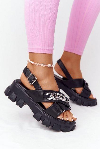 Dámske ploché sandále farba čierna kód obuvi NE354 BLACK