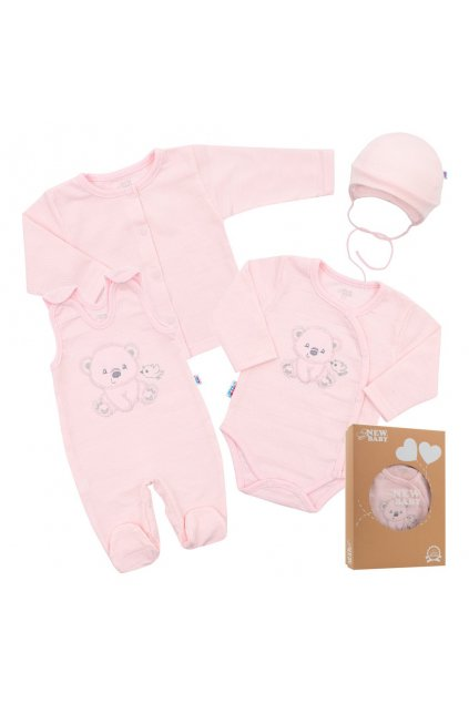 Dojčenská súprava do pôrodnice New Baby For Sweet Bear ružová NJSK 41165