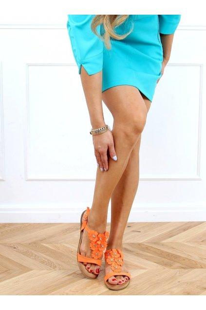 Dámske sandále s plochou podrážkou oranžové na plochom podpätku F3273