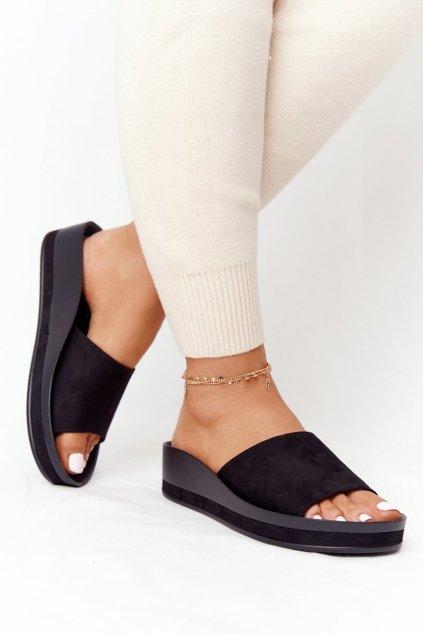 Dámske šľapky farba čierna kód obuvi 21-17113 BLACK