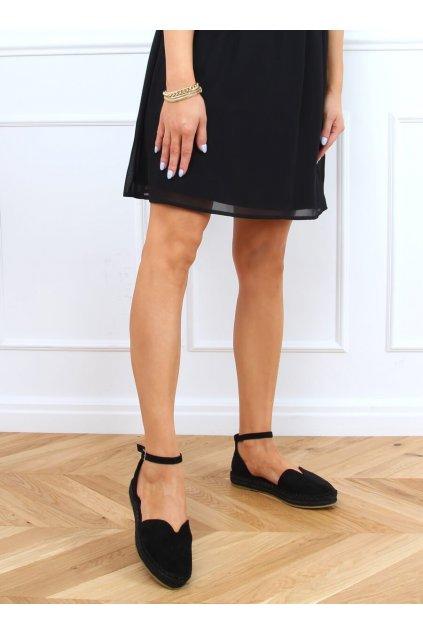 Dámske sandále s plochou podrážkou čierne na plochom podpätku 1219
