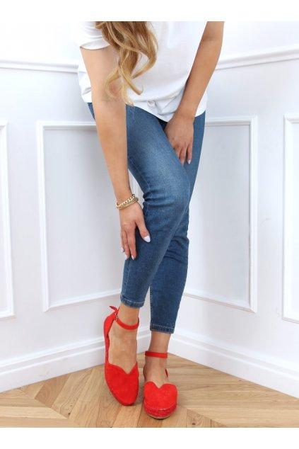 Dámske sandále s plochou podrážkou červené na plochom podpätku 1219
