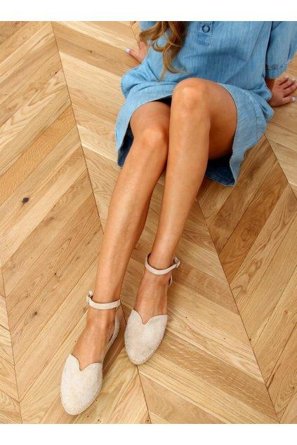 Dámske sandále hnedé na plochom podpätku 1219