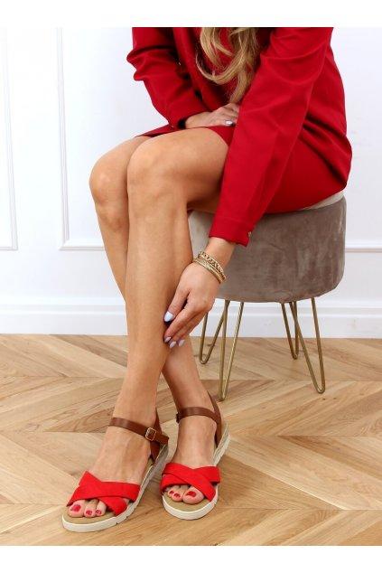 Dámske sandále s plochou podrážkou červené na plochom podpätku 1031-15