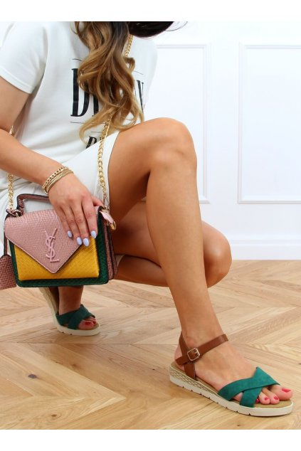 Dámske sandále zelené na plochom podpätku 1031-15