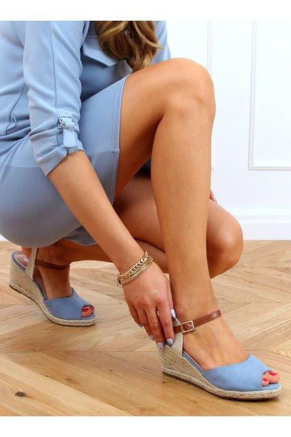 Dámske sandále modré na platforme 77-207