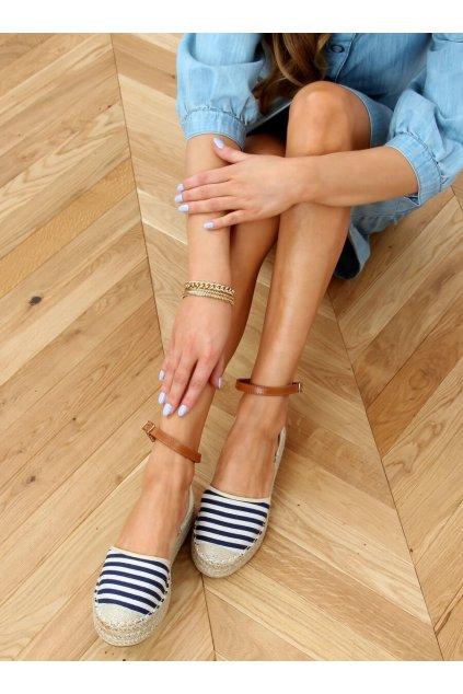 Dámske sandále modré na plochom podpätku 9R108