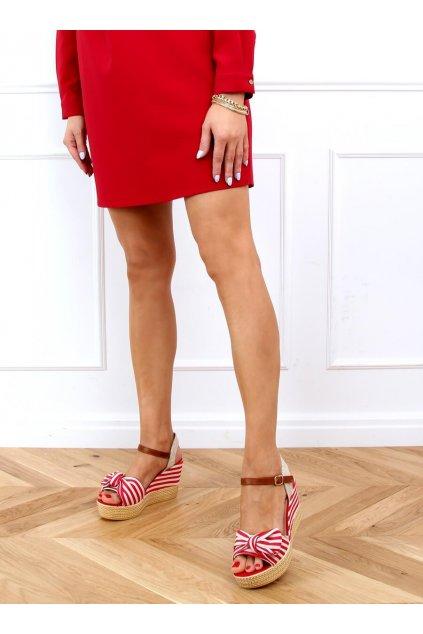Dámske sandále červené na platforme A89907