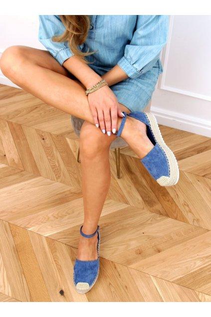 Dámske sandále na platforme modré na plochom podpätku 2138