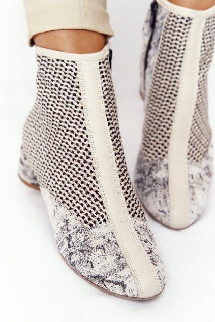 Členkové topánky na podpätku farba hnedá NJSK 04937-03/00-5 POPIEL