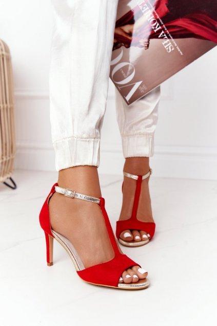 Dámske sandále na podpätku farba červená NJSK 280-58 RED