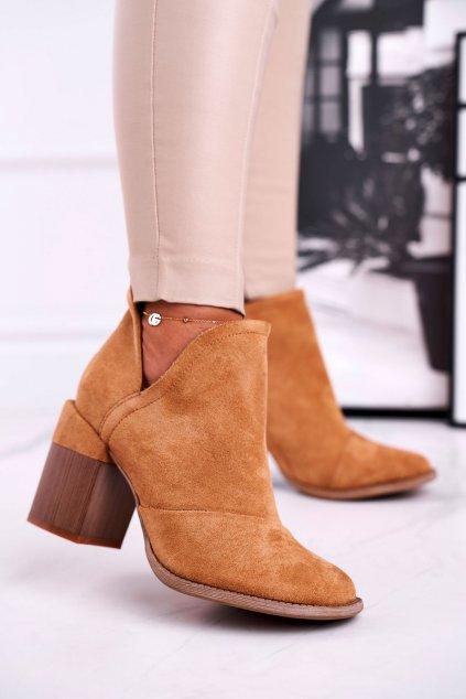 Členkové topánky na podpätku farba hnedá NJSK A5706-32 CAMEL