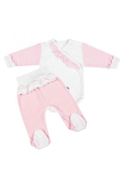 2-dielna dojčenská súprava New Baby Puntík II bielo-ružová NJSK 39066