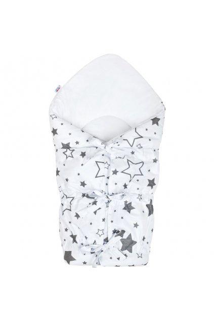 Klasická šnurovacia zavinovačka New Baby biela hviezdy sivé NJSK 33674